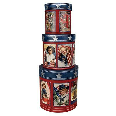 """Bethany Lowe USA Americana 4th of July Patriotic Nesting Boxes, Set of 3, 6""""-9"""""""
