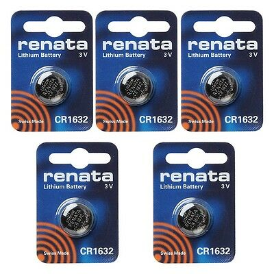 renata CR1632 Cell Coin Button Lithium Battery 3V Tag Watch Key x5 Made in swiss