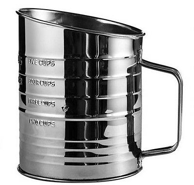 Jacob Bromwell All-American Flour Sifter in Silver 5 Cups Baking 4-Wire Steel