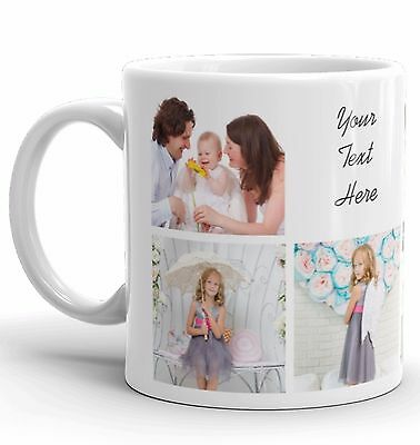 Personalised Mug 7 Photo Collage Add Any Text Custom Design Gift Tea Coffee Cup