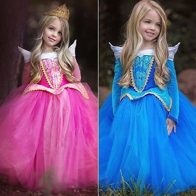 hot Kids Girl Sleeping Beauty Princess Aurora Fancy Dress Xmas Halloween Costume