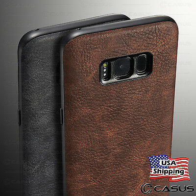 Samsung Galaxy S8 / S8+ Plus Leather Back Ultra Thin Slim TPU Plastic Case Cover