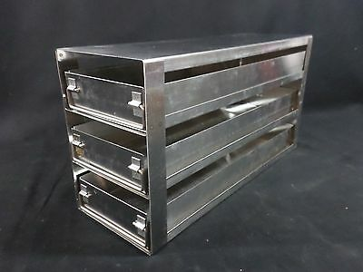 "Laboratory Stainless Steel SS 3-Sliding Drawer Upright Freezer Rack 15-3/8"" Deep"