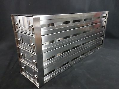 Laboratory Stainless Steel 4-Drawer 24-Position Well Plate Upright Freezer Rack