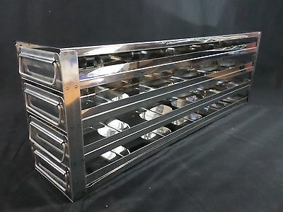 "Laboratory Stainless Steel 4-Drawer 20-Position 2"" Std Box Upright Freezer Rack"