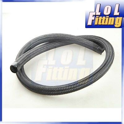 Black Nylon Cover Braided 1500 PSI 6AN AN6 Oil Fuel Gas Line Hose Foot