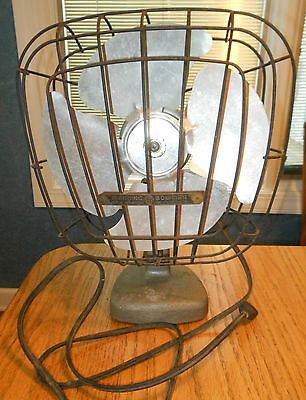 "Vintage Art Deco MANNING BOWMAN 16""  ALUMINUM  BLADE OSCILLATING FAN - Sq Cage"