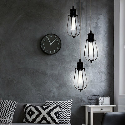 Country House Style LED Pendulum Light Metal Cage Ceilings Hanging Lamp Black