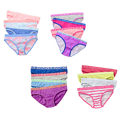 12 PACK PAIRS x BONDS GIRLS UNDERWEAR Brief Bikini Kids Undies Knickers CHEAP