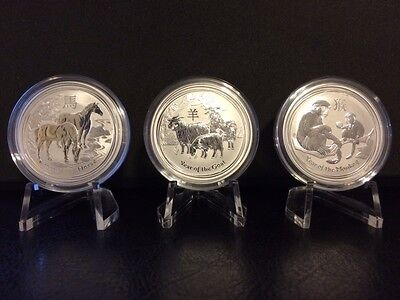 2014-16 Australian Lunar .999 Silver 1/2 oz Year of the Horse, Goat, & Monkey BU