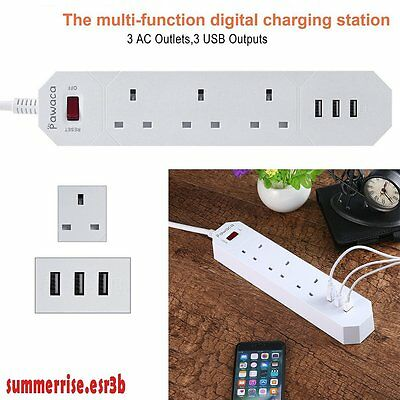 UK 3 Way Power Socket With 3 Smart USB Charging Ports Power Outlet Strip 5V/2.4A