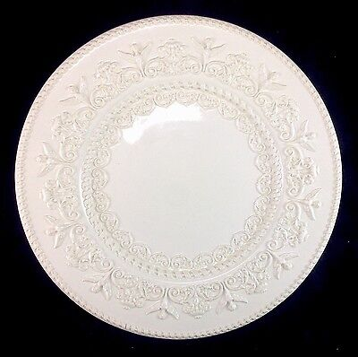 "Wedgwood Queensware White Ceramic Porcelain 10.5"" Dinner Plate Angels Scrolls"