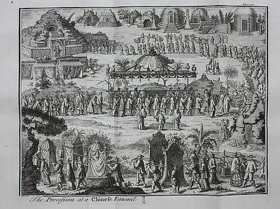 Original antique print, CHINA, 18th century Chinese Funeral, Churchill, 1744