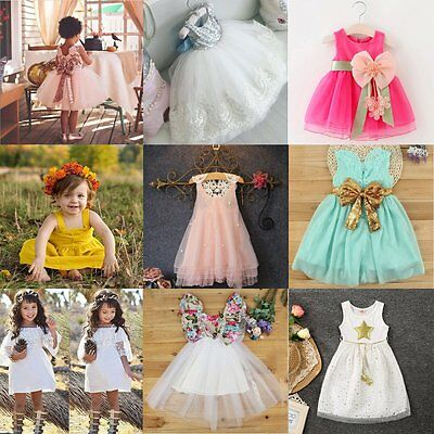 Toddler Baby Girls Summer Princess Dress Party Wedding Pageant Lace Tutu Dress