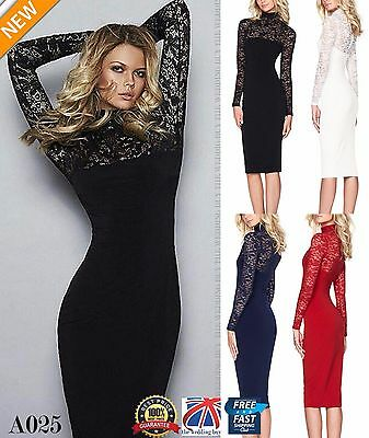 Womens Long Sleeve Bandage Bodycon Lace Dress Formal Wedding Evening Dress A025