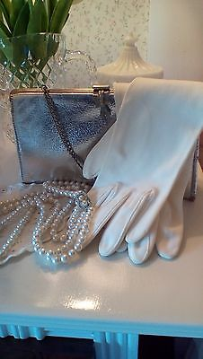 Vintage Wedding Bridal Special OccasionAccessories Pearls Gloves Silver Clutch