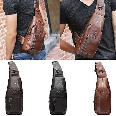 Men Genuine Leather Sling Bags Chest Shoulder Bag Crossbody Satchel Backpack Hot