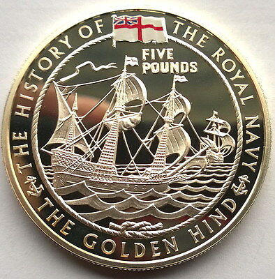 Jersey 2003 The Golden Hind 5 Pounds Silver Coin,Proof