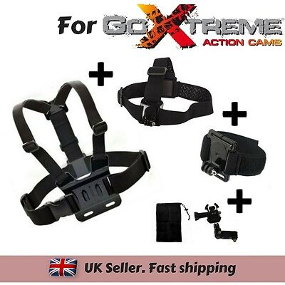 Set of 3 Chest Head Wrist Strap for GoXtreme Black Hawk 4K Vision 4K Ultra HD