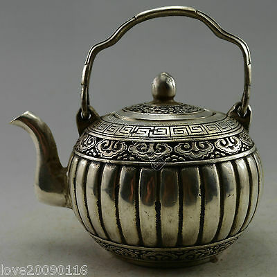 Collectible Decorated Old Handwork Silver Plate Copper Carved Pumpkin Tea Pot