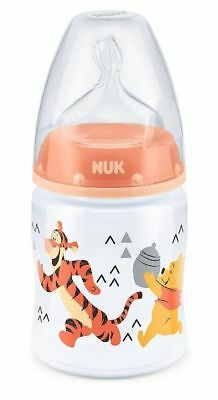 NUK First Choice+ Winnie the Pooh 150ml Bottle Salmon Size 1 Silicone Teat 0-6m