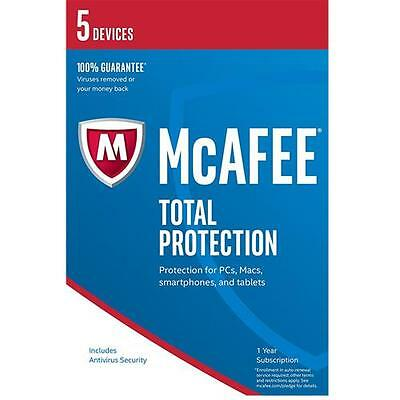 McAfee Total Protection 2017 AntiVirus Internet Security 5 User/PC 1 Yr Licence