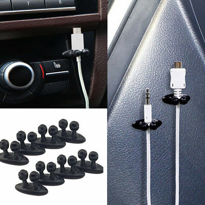 8Pc Black Office Home Car Charger Line Headphone/USB Cable Holder Clip Accessory