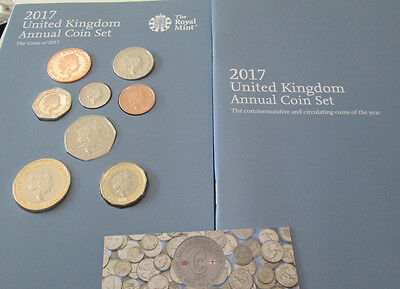 2017 UK Royal Mint Deffinative 8 coin set £2 - 1p box and book new £1 includeded