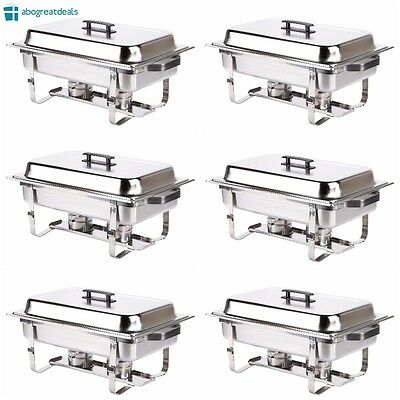 6 Pack Catering Chafer Dish Equipment Kit Stainless Steel Chafing Set 8qt Silver
