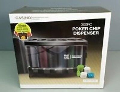 PROTOCOL CASINO POKER CHIP DISPENSER with 300 PC CHIPS 2 DECK CARDS, dealer chip