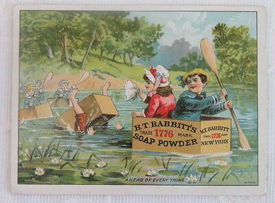 Victorian Trade Card,  Babbitt's Soap Powder, Floating in Soap Boxes