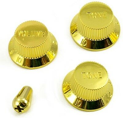 Guitar Volume & Tone Knob Set W/switch Tip For Fender Strat (Gold) *new*