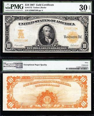 AWESOME *SCARCE* Crisp VF++ 1907 $10 GOLD CERTIFICATE! PMG 30 EPQ! E39067109