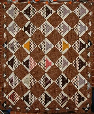 1870's Vintage Baskets Patchwork Antique Quilt Top ~GORGEOUS EARLY BROWN FABRICS