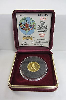 1987 Rarities Mint 1/4 Ounce Proof Gold Peter Pan - Low Number! #032/500!!