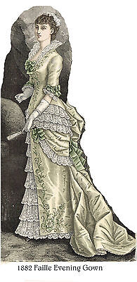 Victorian Pattern 1882 Faille Evening Gown - Sized for you