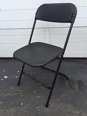 (20) Used Plastic Folding Chairs Black Commercial Stackable Party Event Chair