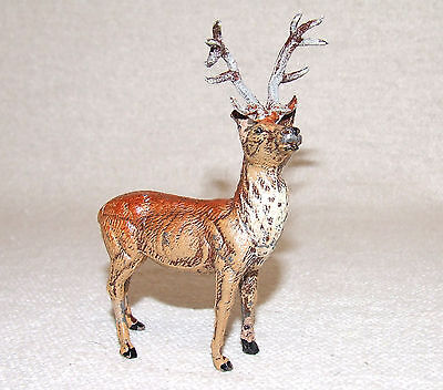 Vintage Christmas Putz Display Lead Deer Reindeer made in Germany