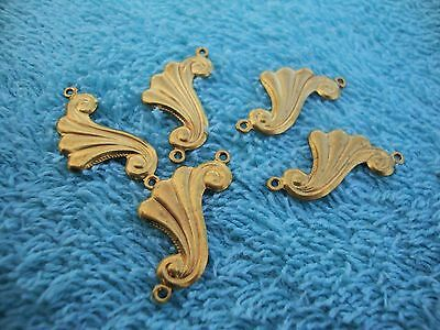 Vintage circa 1940's metal findings brass-5 scrolls with 2 holes