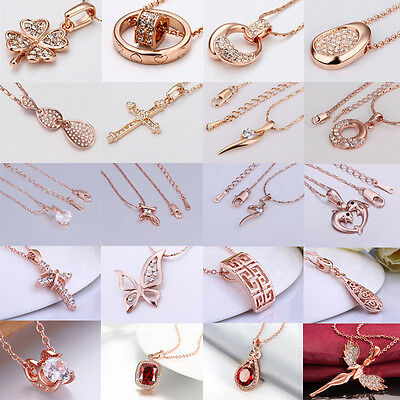 Charm Rose Gold Plated Pendant Chunky Statement Necklace Fashion Jewelry + Chain