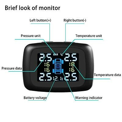 Tyre Tire Pressure Monitoring System LCD TPMS 4 External Sensors Wireless Cars