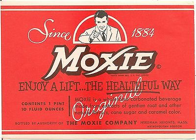 Moxie Carbonated Beverage Bottle Label Moxie Co. Needham Heights MA