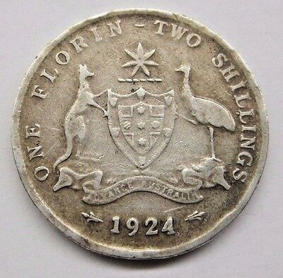 1924 Australia One Florin, 2 Shillings Coin; Fine.  See Details and Pictures