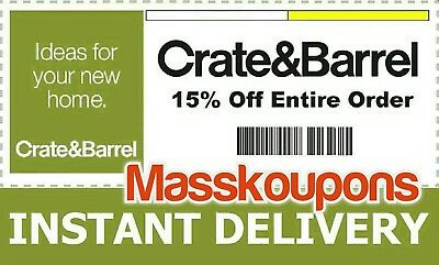 ➜ USE IT TODAY—15% Off Full-Priced Items Crate & Barrel—INCLUDING FURNITURE!