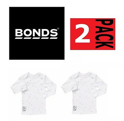 2 x BONDS BABY RIBBED LONG SLEEVE TOP Tee Ribbies Stretchie Kids Boy Girl SALE