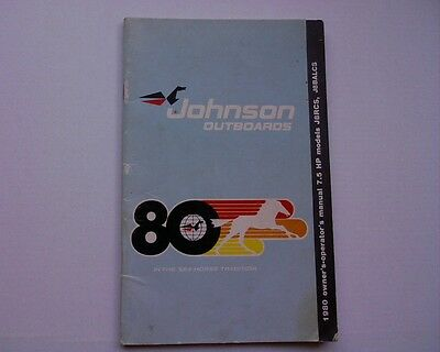 1980 Johnson 7.5 hp outboard motor owners manual instruction book J8RCS J8BALCS