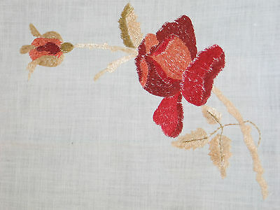 Amazing Antique Victorian Society Silk Tablecloth~ROSES-Hand Embroidered