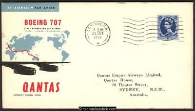 27 October 1959, First Boeing 707 flight London-Sydney - Qantas cover