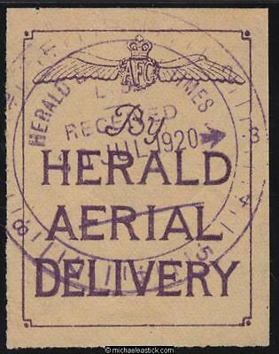 "1920 Herald and Weekly Times ""By HERALD AERIAL DELIVERY"" label"
