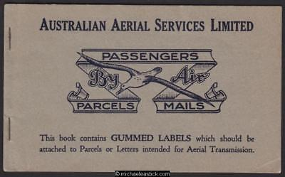 1925 Australian Aerial Services Ltd. Booklet of labels
